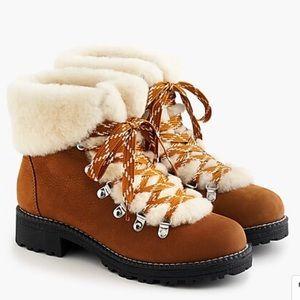J.Crew Nordic shearling winter hiking boot pecan 9